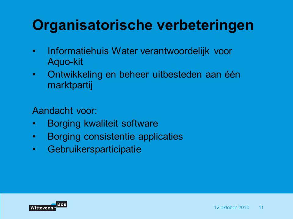 12 oktober 201011 Organisatorische verbeteringen Informatiehuis Water verantwoordelijk voor Aquo-kit Ontwikkeling en beheer uitbesteden aan één marktpartij Aandacht voor: Borging kwaliteit software Borging consistentie applicaties Gebruikersparticipatie