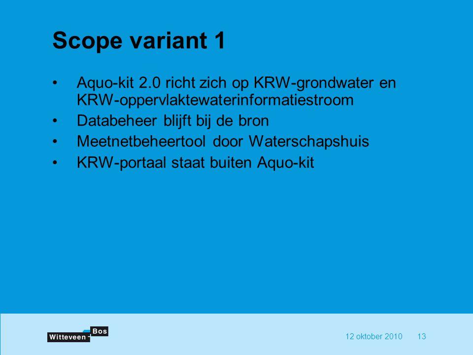12 oktober 201013 Scope variant 1 Aquo-kit 2.0 richt zich op KRW-grondwater en KRW-oppervlaktewaterinformatiestroom Databeheer blijft bij de bron Meetnetbeheertool door Waterschapshuis KRW-portaal staat buiten Aquo-kit
