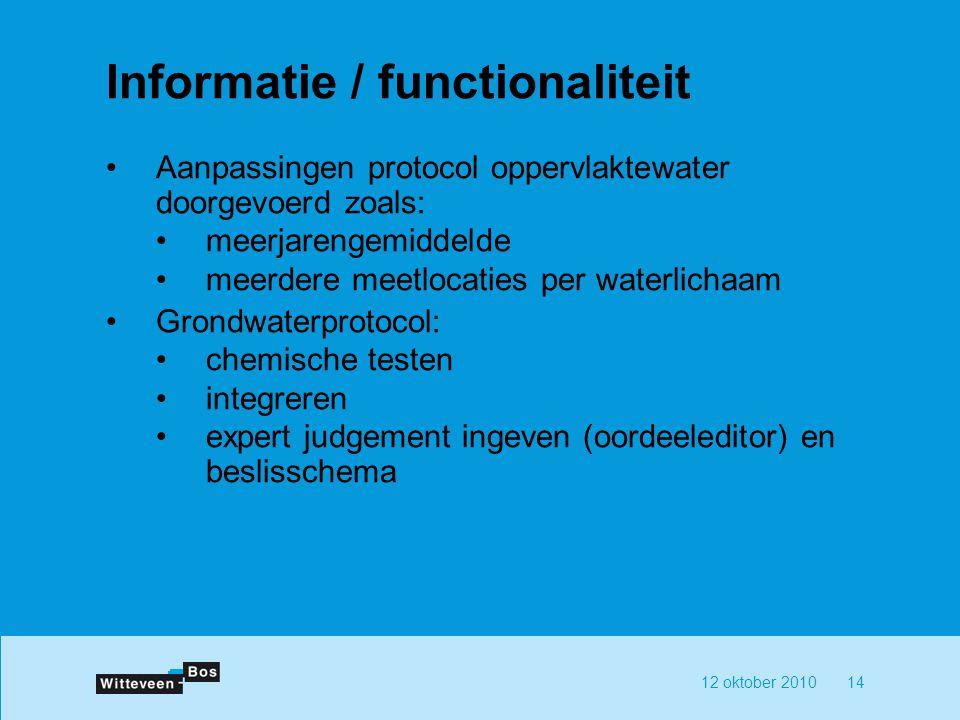 12 oktober 201014 Informatie / functionaliteit Aanpassingen protocol oppervlaktewater doorgevoerd zoals: meerjarengemiddelde meerdere meetlocaties per