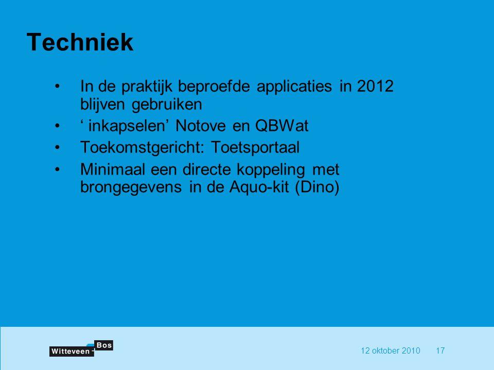 12 oktober 201017 Techniek In de praktijk beproefde applicaties in 2012 blijven gebruiken ' inkapselen' Notove en QBWat Toekomstgericht: Toetsportaal