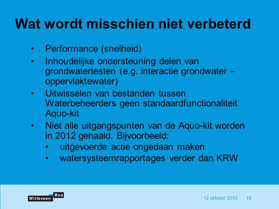 12 oktober 201018 Wat wordt misschien niet verbeterd Performance (snelheid) Inhoudelijke ondersteuning delen van grondwatertesten (e.g. interactie gro