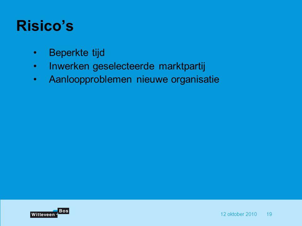 12 oktober 201019 Risico's Beperkte tijd Inwerken geselecteerde marktpartij Aanloopproblemen nieuwe organisatie