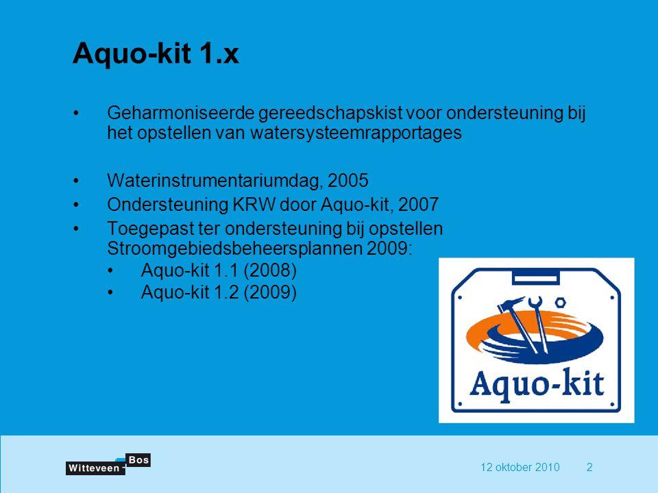 12 oktober 20102 Aquo-kit 1.x Geharmoniseerde gereedschapskist voor ondersteuning bij het opstellen van watersysteemrapportages Waterinstrumentariumda