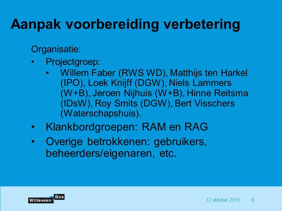 12 oktober 20106 Aanpak voorbereiding verbetering Organisatie: Projectgroep: Willem Faber (RWS WD), Matthijs ten Harkel (IPO), Loek Knijff (DGW), Niels Lammers (W+B), Jeroen Nijhuis (W+B), Hinne Reitsma (IDsW), Roy Smits (DGW), Bert Visschers (Waterschapshuis).