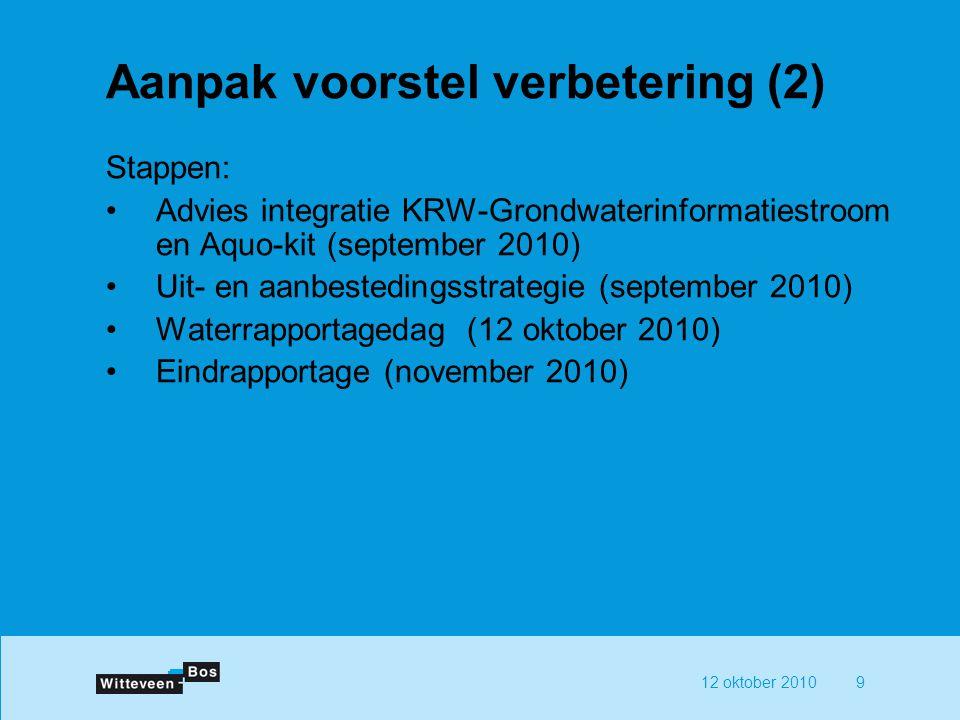 12 oktober 20109 Aanpak voorstel verbetering (2) Stappen: Advies integratie KRW-Grondwaterinformatiestroom en Aquo-kit (september 2010) Uit- en aanbestedingsstrategie (september 2010) Waterrapportagedag (12 oktober 2010) Eindrapportage (november 2010)