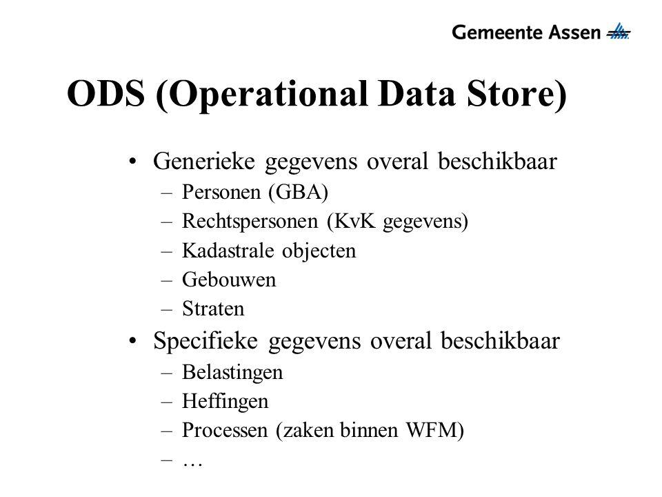 ODS (Operational Data Store) Generieke gegevens overal beschikbaar –Personen (GBA) –Rechtspersonen (KvK gegevens) –Kadastrale objecten –Gebouwen –Stra