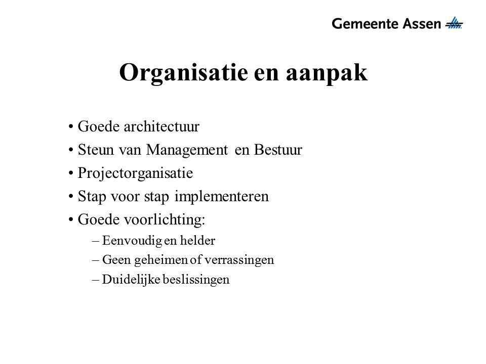 Organisatie en aanpak Goede architectuur Steun van Management en Bestuur Projectorganisatie Stap voor stap implementeren Goede voorlichting: – Eenvoud
