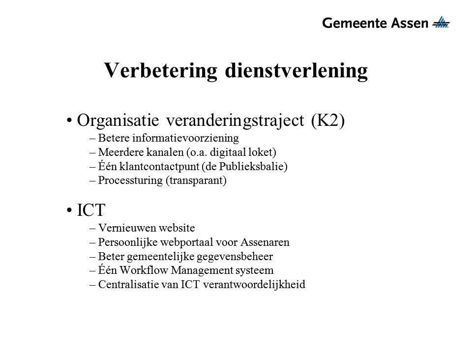 Verbetering dienstverlening Organisatie veranderingstraject (K2) – Betere informatievoorziening – Meerdere kanalen (o.a. digitaal loket) – Één klantco