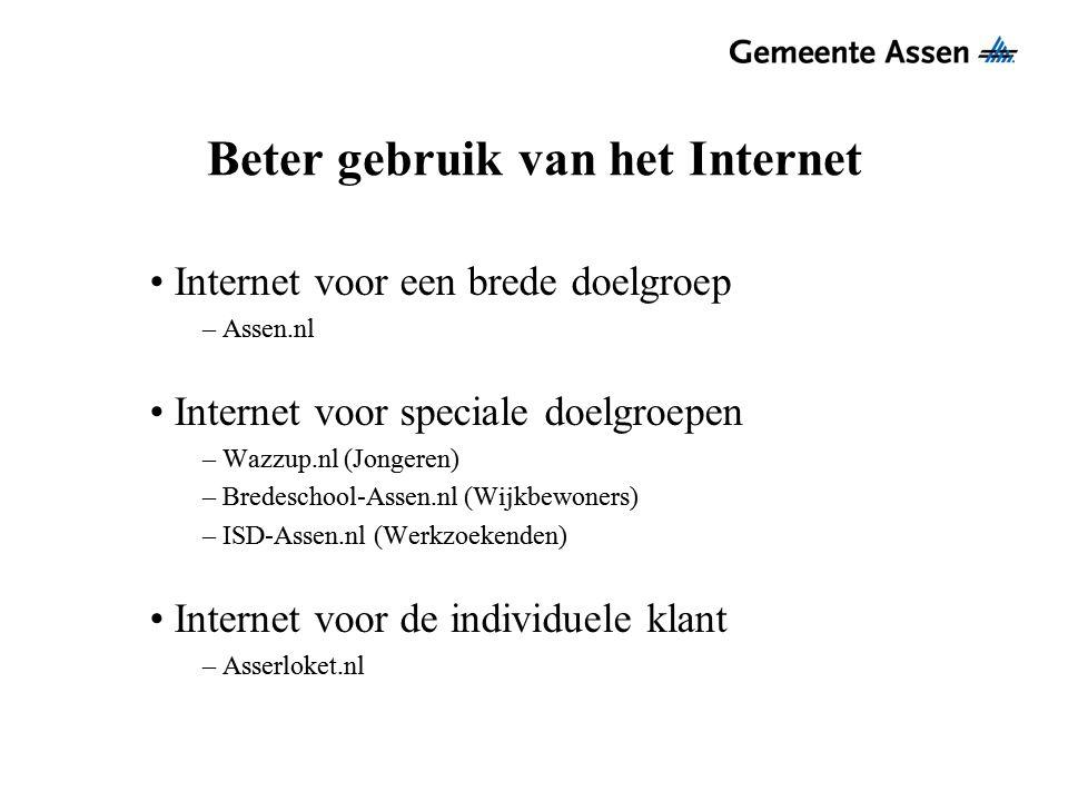 Beter gebruik van het Internet Internet voor een brede doelgroep – Assen.nl Internet voor speciale doelgroepen – Wazzup.nl (Jongeren) – Bredeschool-As