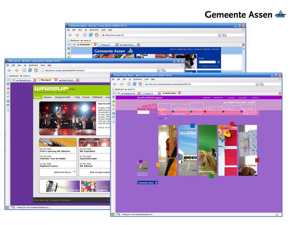 Asserloket.nl Webportal voor inwoners van Assen Informatie inzien Producten en diensten afnemen Toekomst: –Processen volgen –Documenten inzien –Gegevens beheren