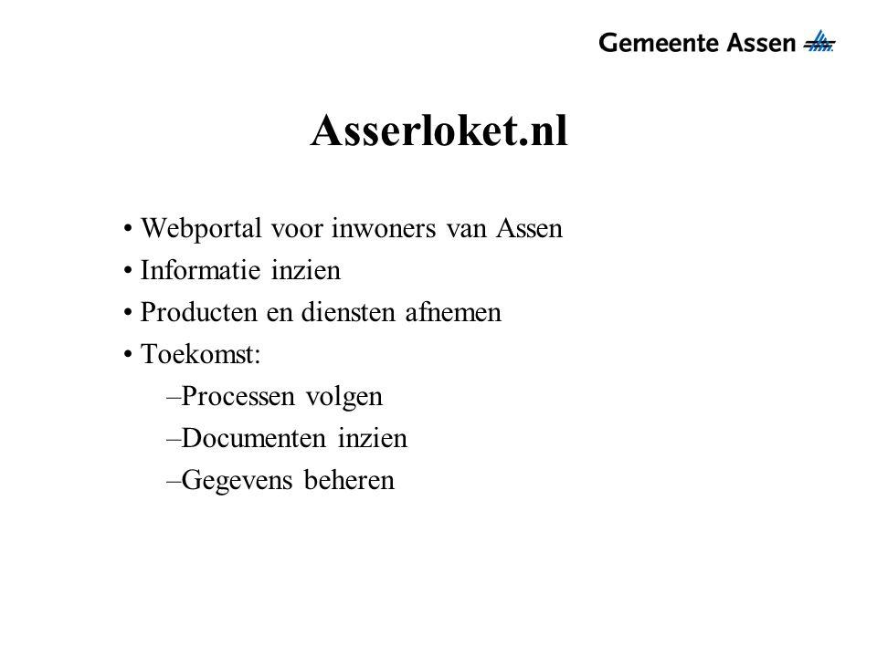 Asserloket.nl Webportal voor inwoners van Assen Informatie inzien Producten en diensten afnemen Toekomst: –Processen volgen –Documenten inzien –Gegeve