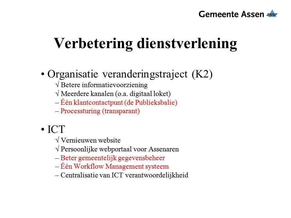 Verbetering dienstverlening Organisatie veranderingstraject (K2) √ Betere informatievoorziening √ Meerdere kanalen (o.a. digitaal loket) – Één klantco