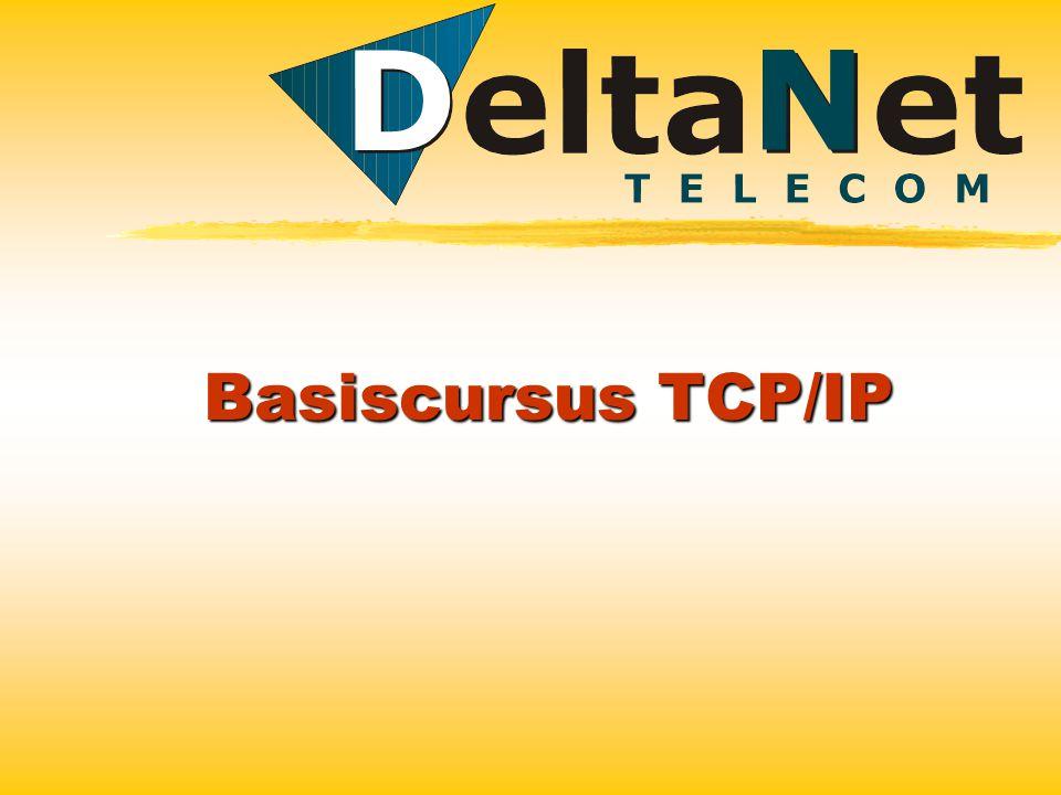 TCP/IP TCP/IP staat voor Transport Communication Protocol/Internet protocol De adressering en routering van de datavelden zijn vastgelegd in het IP protocol.