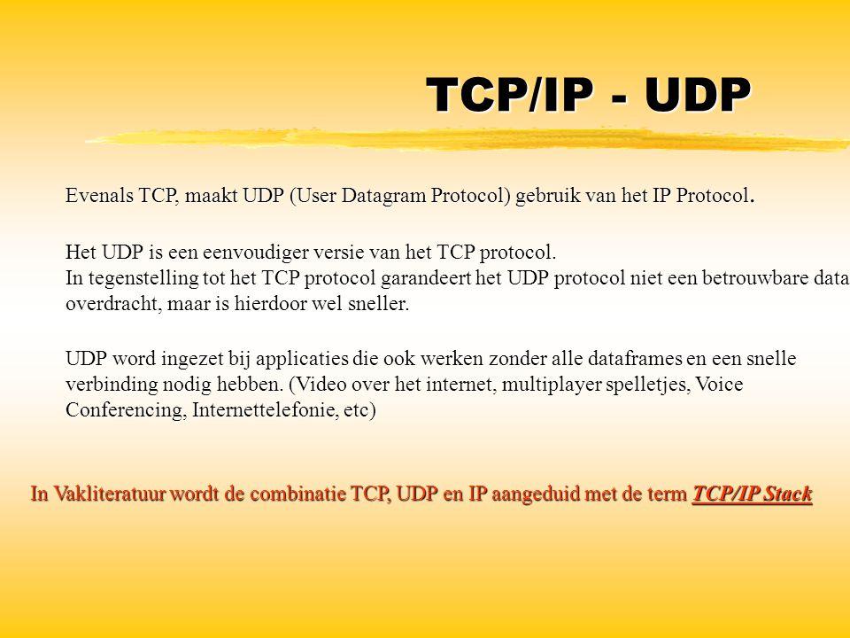 TCP/IP - UDP Evenals TCP, maakt UDP (User Datagram Protocol) gebruik van het IP Protocol. Het UDP is een eenvoudiger versie van het TCP protocol. In t