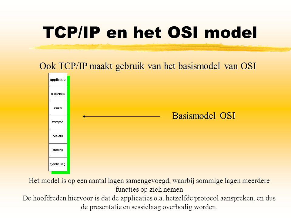 TCP/IP en het OSI model Ook TCP/IP maakt gebruik van het basismodel van OSI Het model is op een aantal lagen samengevoegd, waarbij sommige lagen meerd