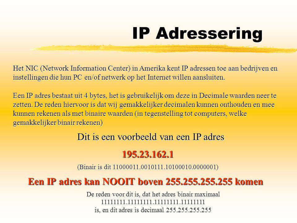 IP Adressering Het NIC (Network Information Center) in Amerika kent IP adressen toe aan bedrijven en instellingen die hun PC en/of netwerk op het Inte