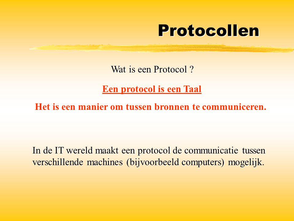Protocollen Wat is een Protocol? Wat is een Protocol ? Een protocol is een Taal Het is een manier om tussen bronnen te communiceren. In de IT wereld m