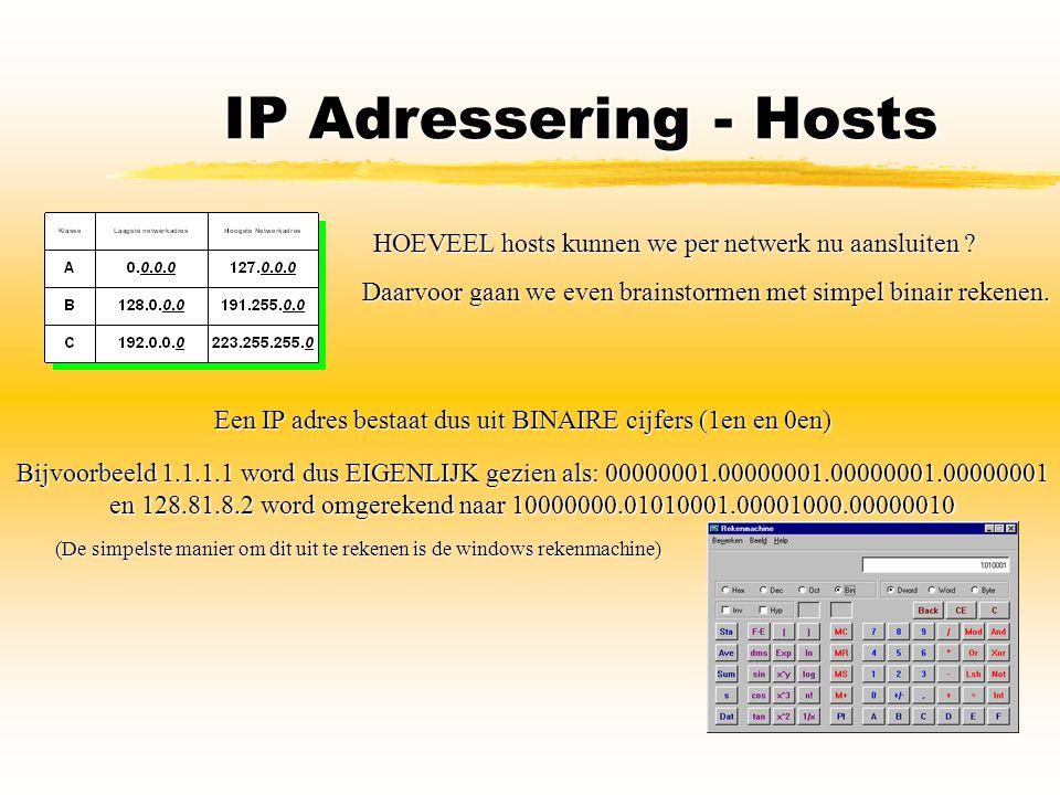 IP Adressering - Hosts HOEVEEL hosts kunnen we per netwerk nu aansluiten ? Daarvoor gaan we even brainstormen met simpel binair rekenen. Een IP adres