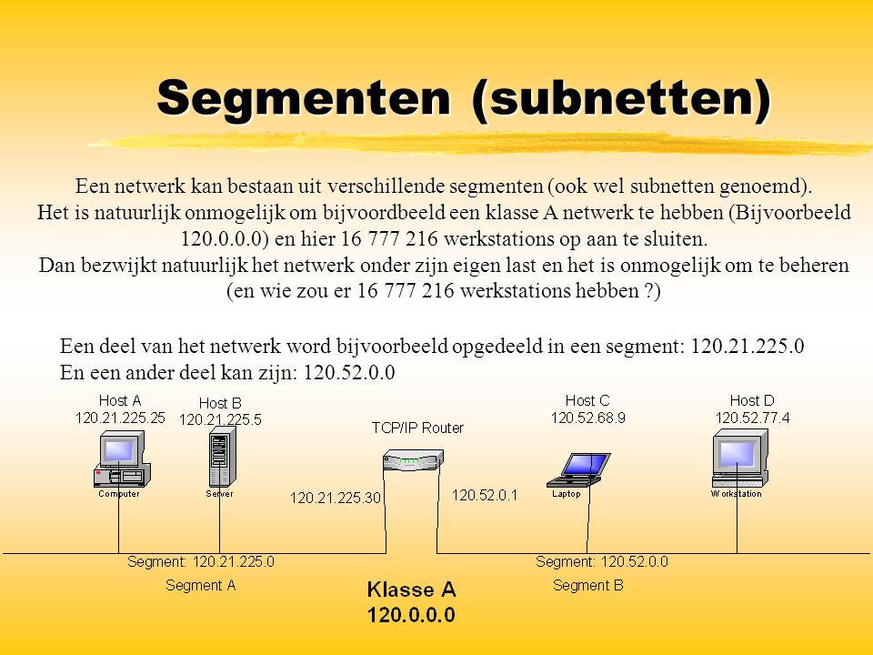 Segmenten (subnetten) Een netwerk kan bestaan uit verschillende segmenten (ook wel subnetten genoemd). Het is natuurlijk onmogelijk om bijvoordbeeld e