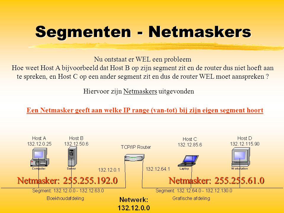 Segmenten - Netmaskers Nu ontstaat er WEL een probleem Hoe weet Host A bijvoorbeeld dat Host B op zijn segment zit en de router dus niet hoeft aan te