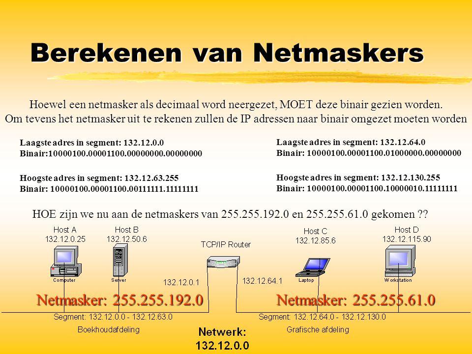 Berekenen van Netmaskers Hoewel een netmasker als decimaal word neergezet, MOET deze binair gezien worden. Om tevens het netmasker uit te rekenen zull