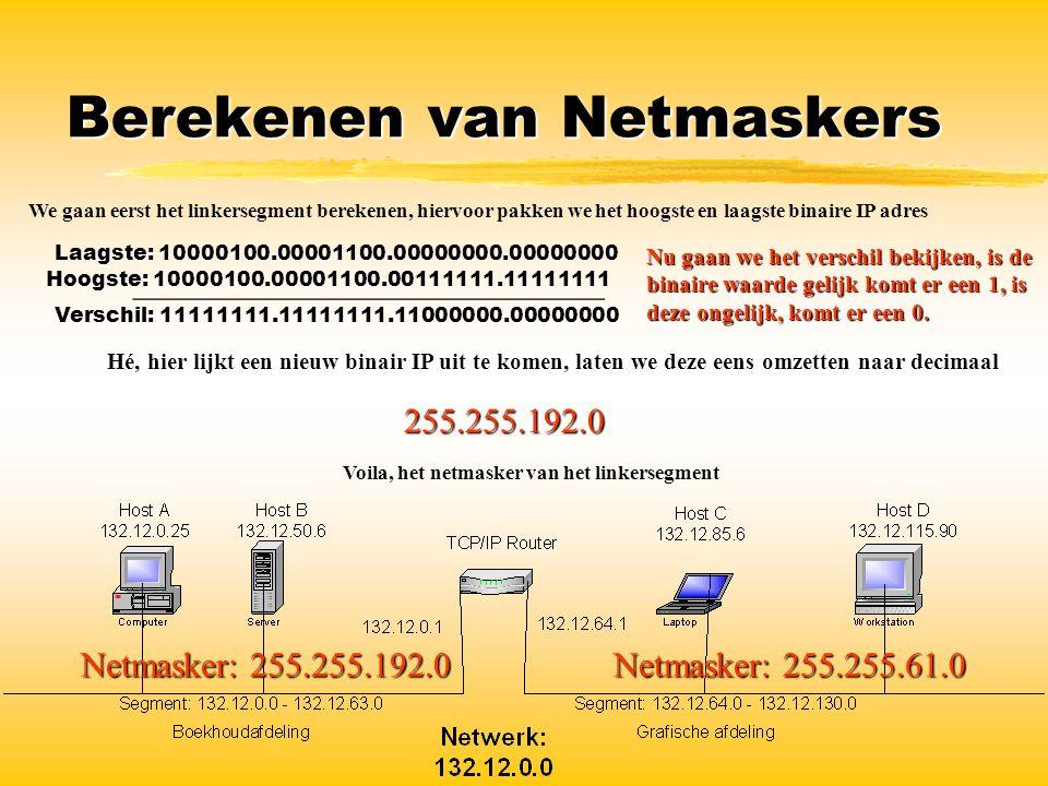 Berekenen van Netmaskers Netmasker: 255.255.61.0 Netmasker: 255.255.192.0 We gaan eerst het linkersegment berekenen, hiervoor pakken we het hoogste en