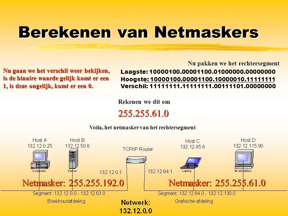 Berekenen van Netmaskers Netmasker: 255.255.61.0 Netmasker: 255.255.192.0 Nu pakken we het rechtersegment Laagste: 10000100.00001100.01000000.00000000
