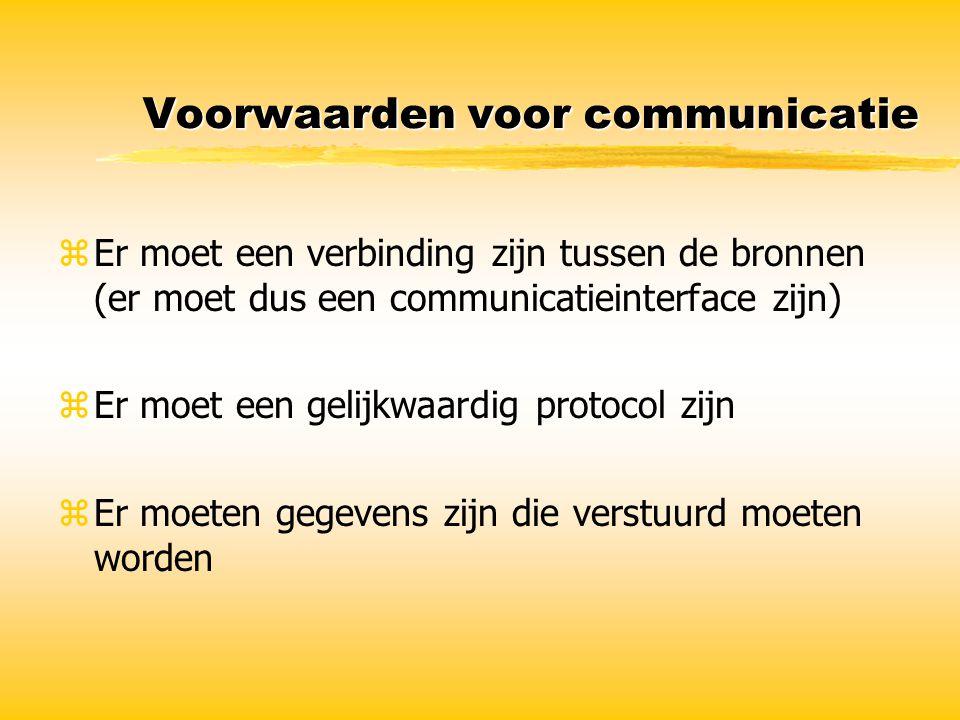 Voorwaarden voor communicatie zEr moet een verbinding zijn tussen de bronnen (er moet dus een communicatieinterface zijn) zEr moet een gelijkwaardig p