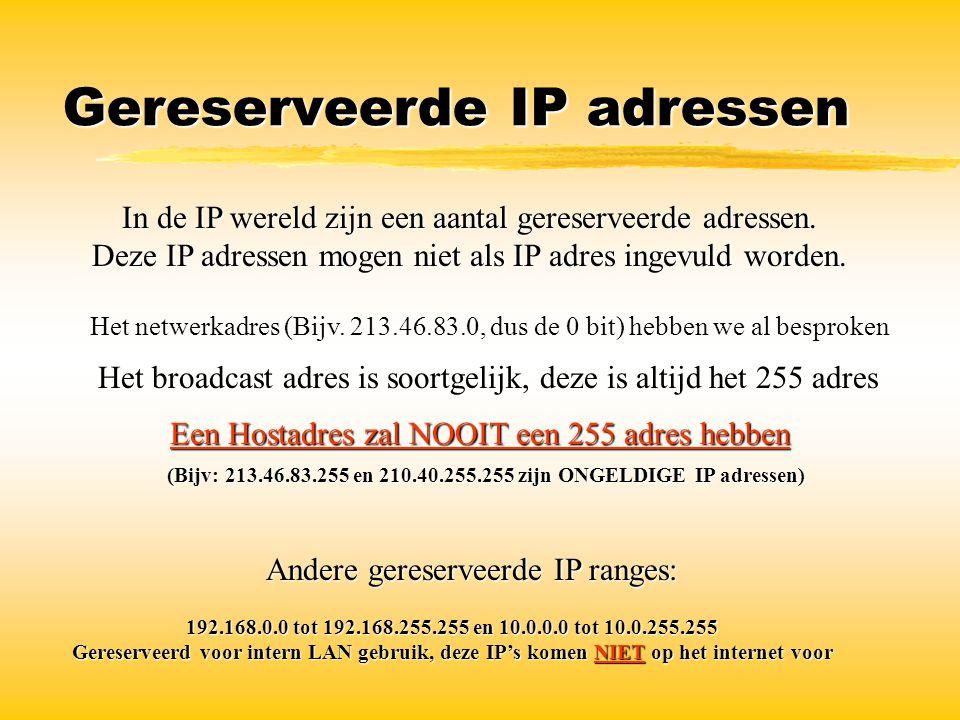 Gereserveerde IP adressen In de IP wereld zijn een aantal gereserveerde adressen. Deze IP adressen mogen niet als IP adres ingevuld worden. Het netwer