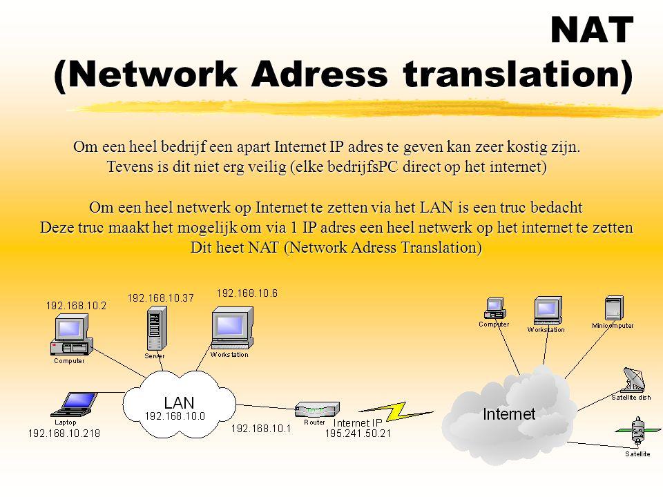 NAT (Network Adress translation) Om een heel bedrijf een apart Internet IP adres te geven kan zeer kostig zijn. Tevens is dit niet erg veilig (elke be