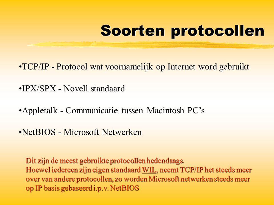 Soorten protocollen TCP/IP - Protocol wat voornamelijk op Internet word gebruiktTCP/IP - Protocol wat voornamelijk op Internet word gebruikt IPX/SPX -