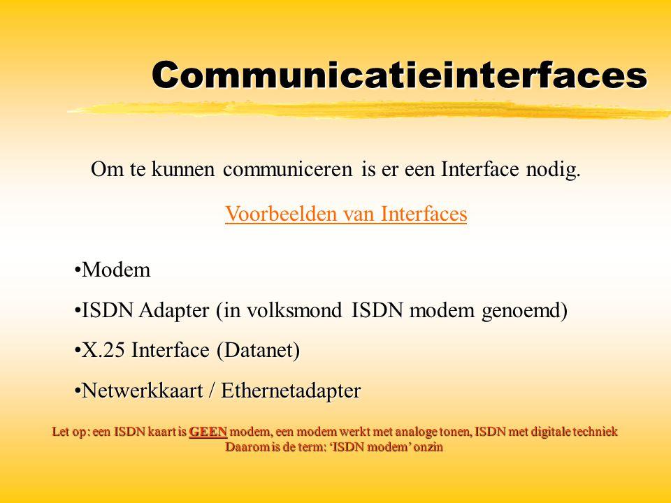 Communicatieinterfaces Om te kunnen communiceren is er een Interface nodig. Voorbeelden van Interfaces ModemModem ISDN Adapter (in volksmond ISDN mode