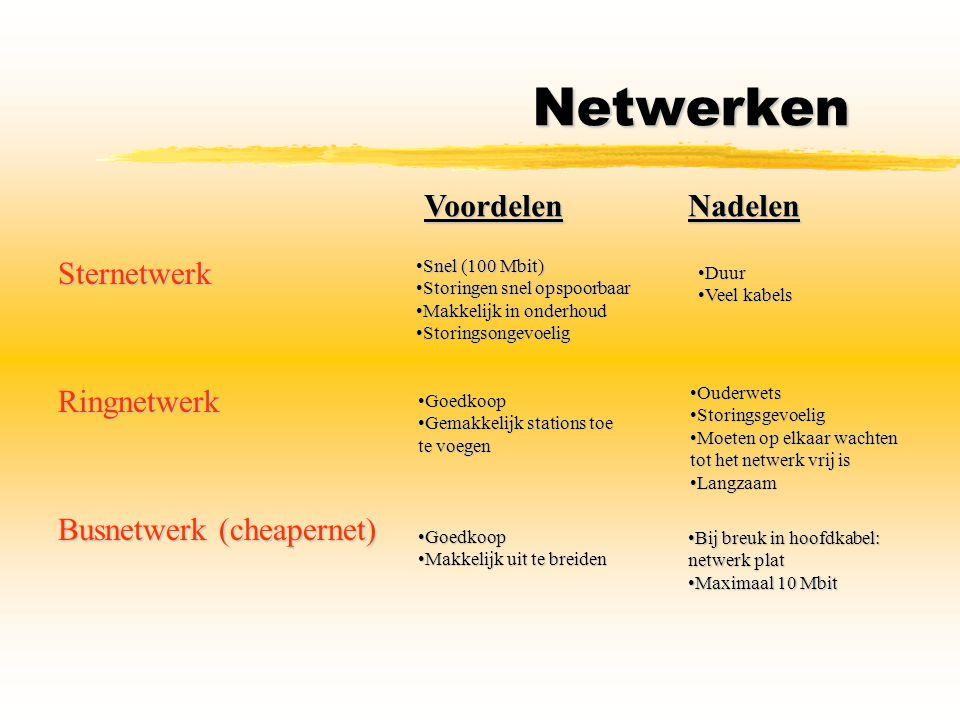 Netwerken Sternetwerk VoordelenNadelen Snel (100 Mbit)Snel (100 Mbit) Storingen snel opspoorbaarStoringen snel opspoorbaar Makkelijk in onderhoudMakke