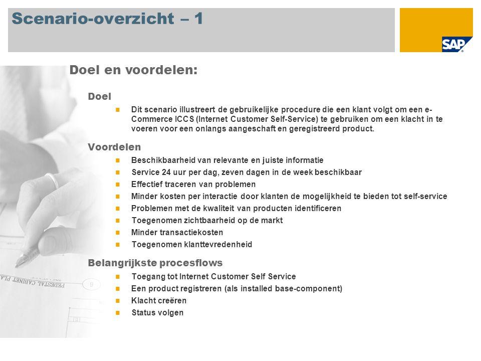 Scenario-overzicht – 1 Doel Dit scenario illustreert de gebruikelijke procedure die een klant volgt om een e- Commerce ICCS (Internet Customer Self-Se