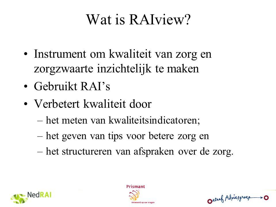 Basis van RAIview Resident Assessment Instruments Ontwikkeld door wetenschappers en professionals in de VS eind jaren 80 Sindsdien continue bijstelling en uitbreiding Mondiaal gebruikte instrumenten Gevalideerde vragenlijsten om de zorgbehoefte van cliënten te meten