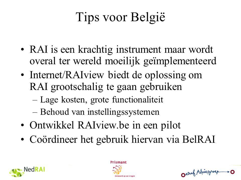 Tips voor België RAI is een krachtig instrument maar wordt overal ter wereld moeilijk geïmplementeerd Internet/RAIview biedt de oplossing om RAI groot