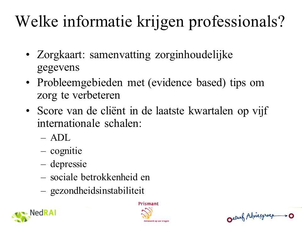 Welke informatie krijgen professionals? Zorgkaart: samenvatting zorginhoudelijke gegevens Probleemgebieden met (evidence based) tips om zorg te verbet