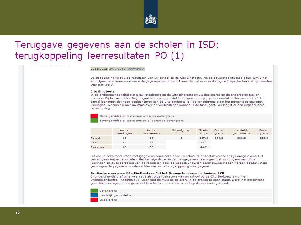 17 Teruggave gegevens aan de scholen in ISD: terugkoppeling leerresultaten PO (1)