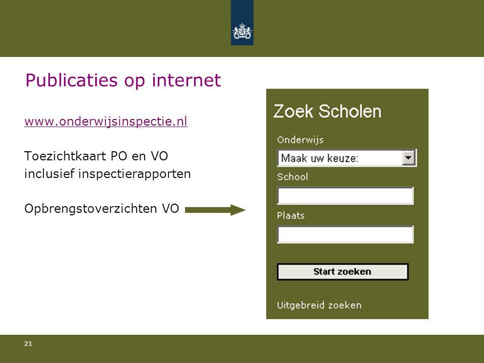21 Publicaties op internet www.onderwijsinspectie.nl Toezichtkaart PO en VO inclusief inspectierapporten Opbrengstoverzichten VO