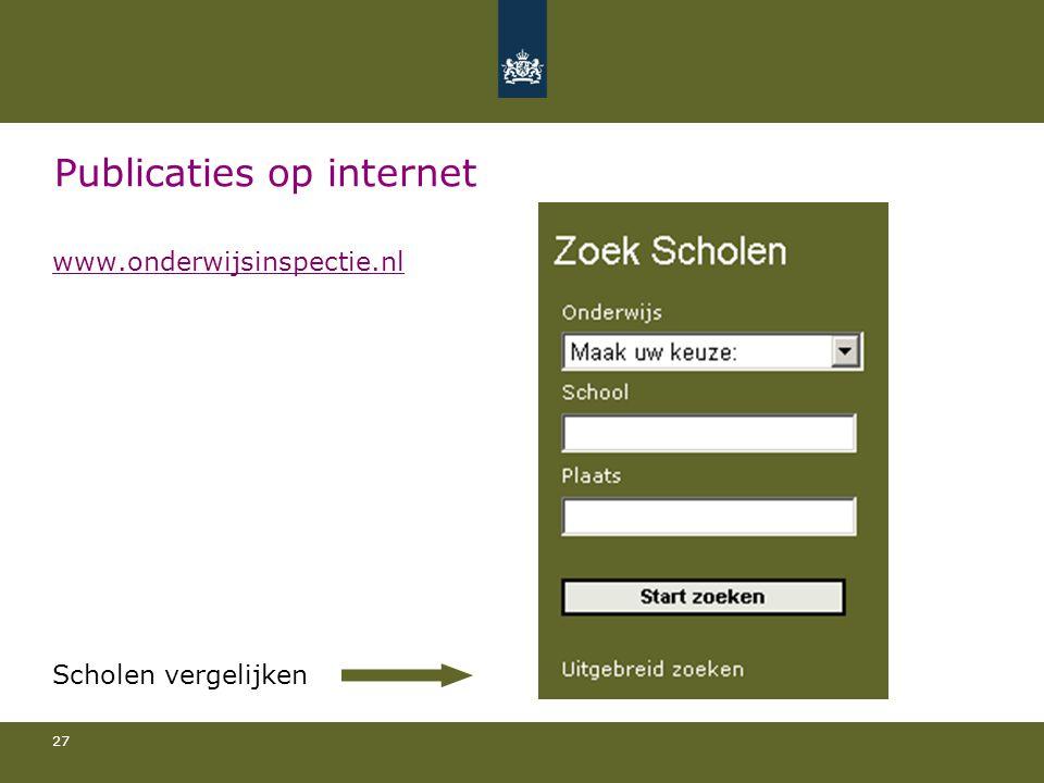 27 Publicaties op internet www.onderwijsinspectie.nl Scholen vergelijken