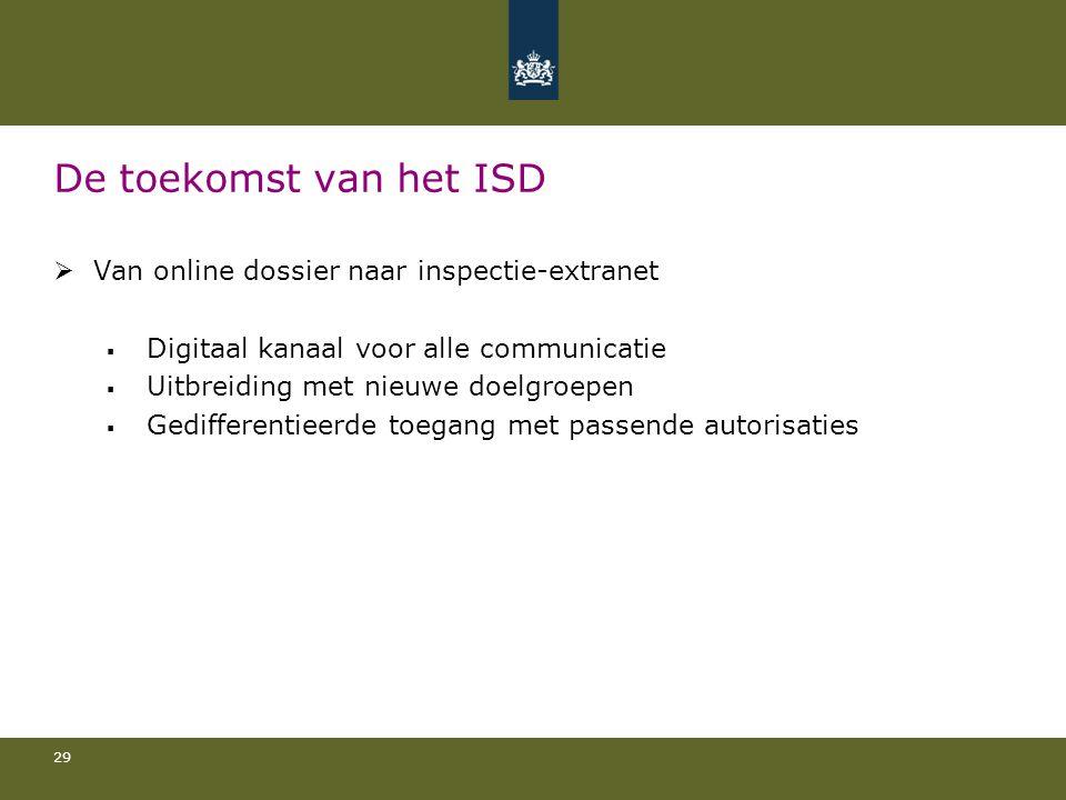 29 De toekomst van het ISD  Van online dossier naar inspectie-extranet  Digitaal kanaal voor alle communicatie  Uitbreiding met nieuwe doelgroepen  Gedifferentieerde toegang met passende autorisaties