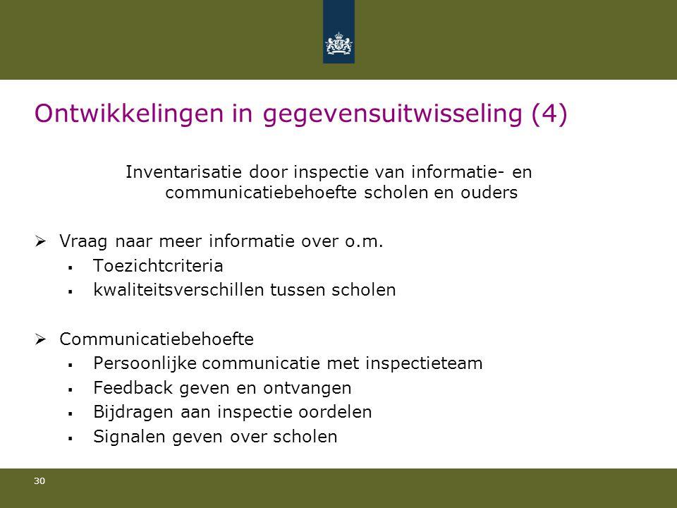 30 Ontwikkelingen in gegevensuitwisseling (4) Inventarisatie door inspectie van informatie- en communicatiebehoefte scholen en ouders  Vraag naar meer informatie over o.m.