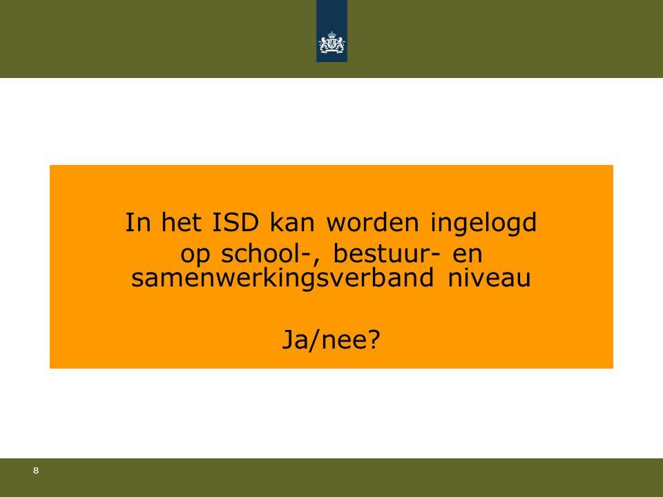 8 In het ISD kan worden ingelogd op school-, bestuur- en samenwerkingsverband niveau Ja/nee?