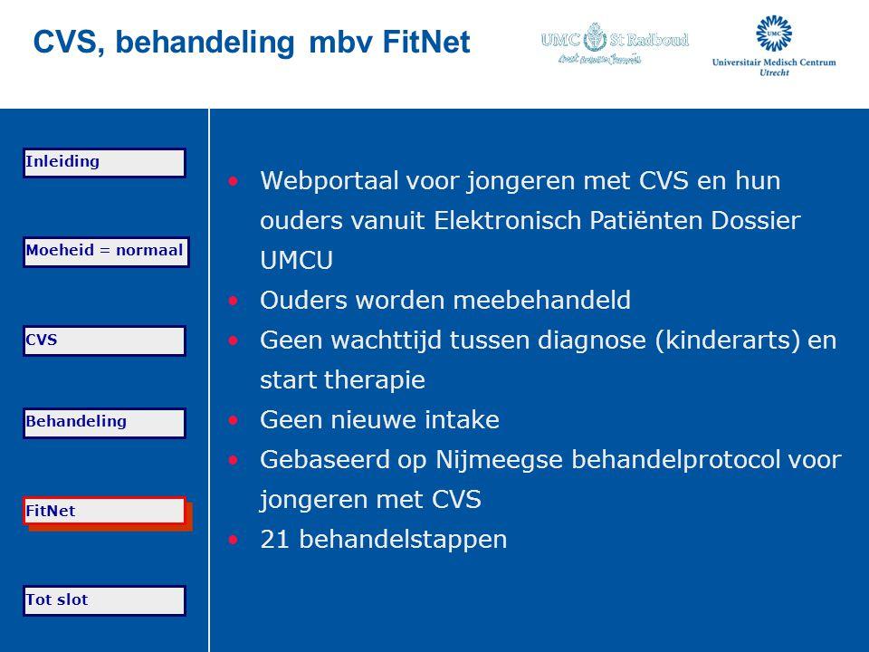 CVS, behandeling mbv FitNet Webportaal voor jongeren met CVS en hun ouders vanuit Elektronisch Patiënten Dossier UMCU Ouders worden meebehandeld Geen