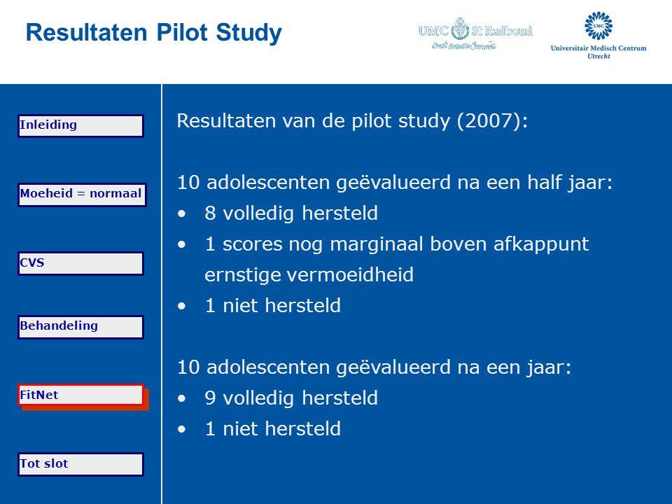 Tot slot Moeheid = normaal CVS Behandeling FitNet Inleiding Resultaten Pilot Study Resultaten van de pilot study (2007): 10 adolescenten geëvalueerd n