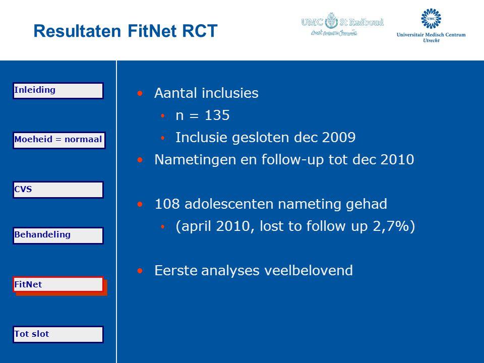 Resultaten FitNet RCT Aantal inclusies n = 135 Inclusie gesloten dec 2009 Nametingen en follow-up tot dec 2010 108 adolescenten nameting gehad (april