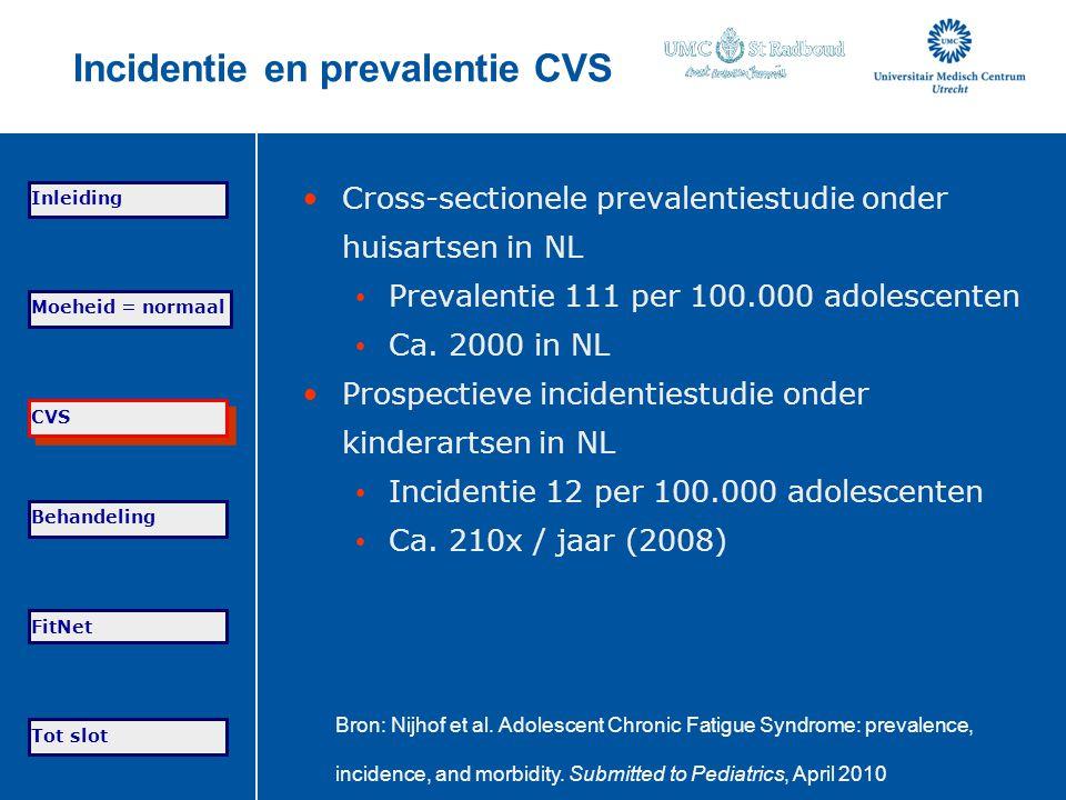 Incidentie en prevalentie CVS Cross-sectionele prevalentiestudie onder huisartsen in NL Prevalentie 111 per 100.000 adolescenten Ca. 2000 in NL Prospe