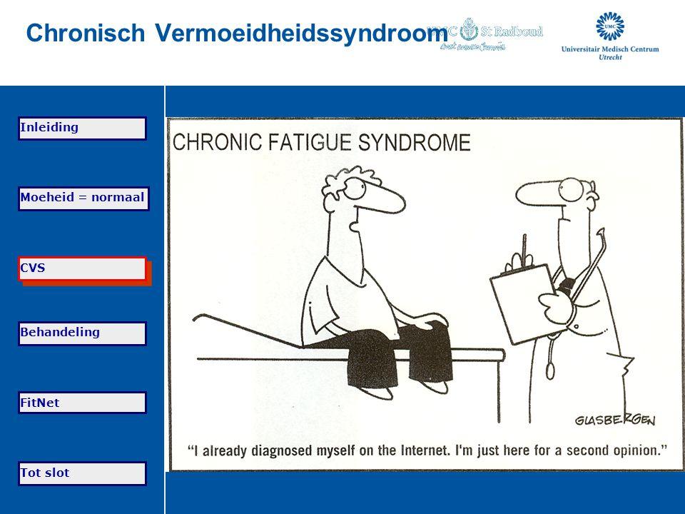 Tot slot Moeheid = normaal CVS Behandeling FitNet Inleiding Chronisch Vermoeidheidssyndroom