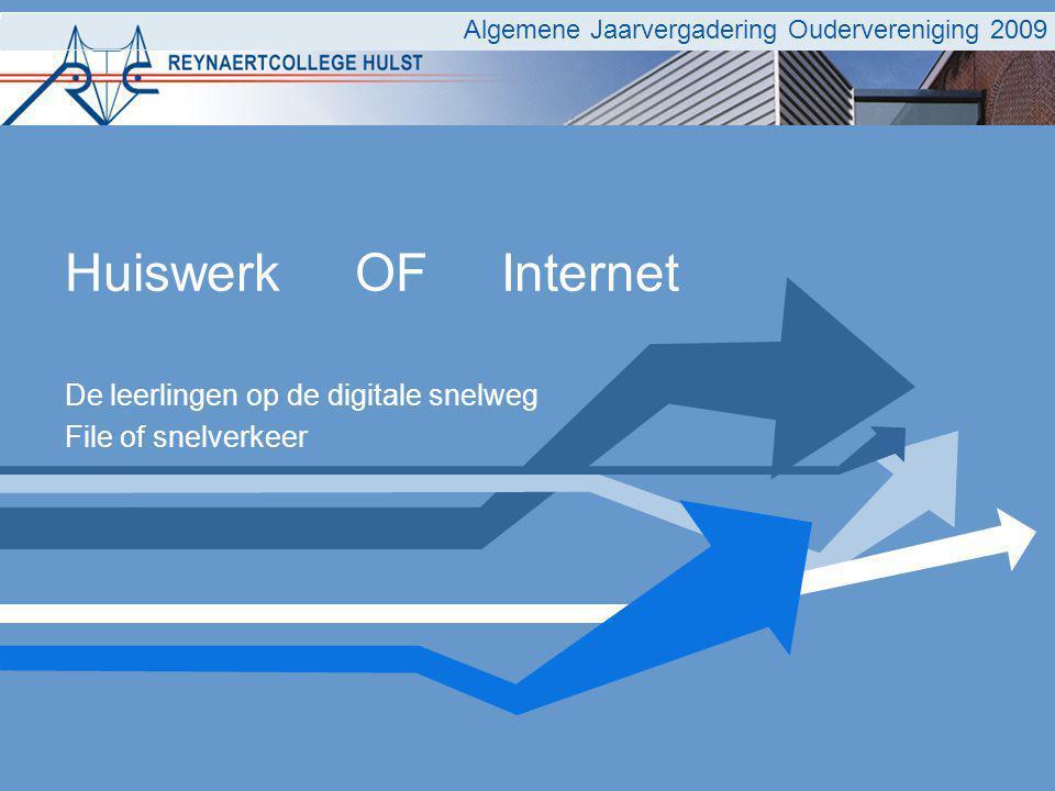 Huiswerk OF Internet De leerlingen op de digitale snelweg File of snelverkeer Algemene Jaarvergadering Oudervereniging 2009