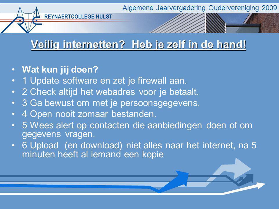 Algemene Jaarvergadering Oudervereniging 2009 Veilig internetten.